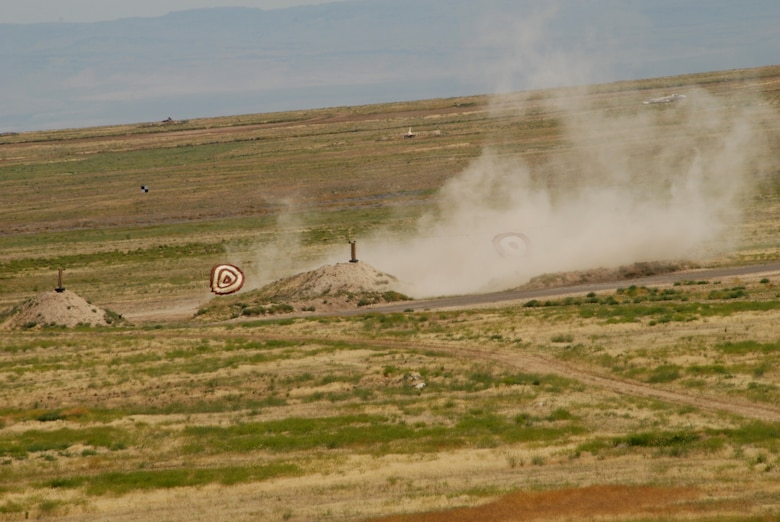A-10 aircraft from the 190th Fighter Squadron practiced the capabilities of the aircraft and the skill of the 190th pilots as they shot weapons at targets located in the field at Saylor Creek target range on July 11, 2009. (Air Force photo by Tech Sgt Becky Vanshur)(Released)