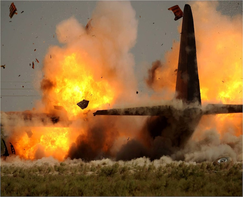 The C-130 that crashed in the Iraqi desert on June 7, 2008, ended up getting demolished, marking the first time in history a C-130 had been destroyed by controlled detonation in combat. (Army photo)