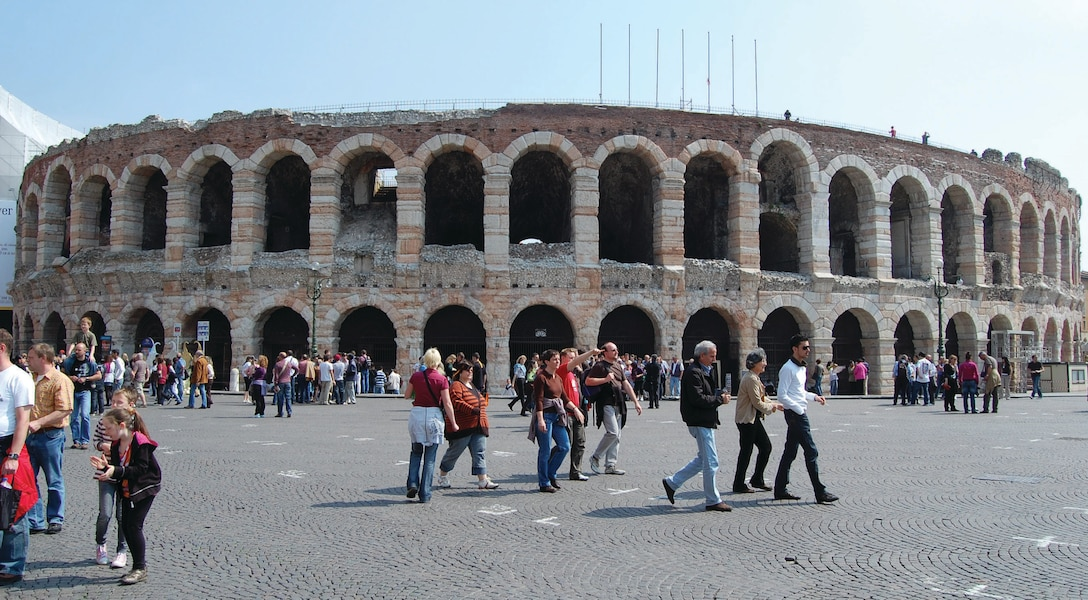The third largest amphitheatre in Italy rests at the end of the Piazza Bra in Verona, Italy. Completed around 30 A.D. and able to seat about 25,000 people, the  arena showcases a variety of operas throughout the summer. (U.S. Air Force photo/Staff Sgt. Lindsey Maurice)