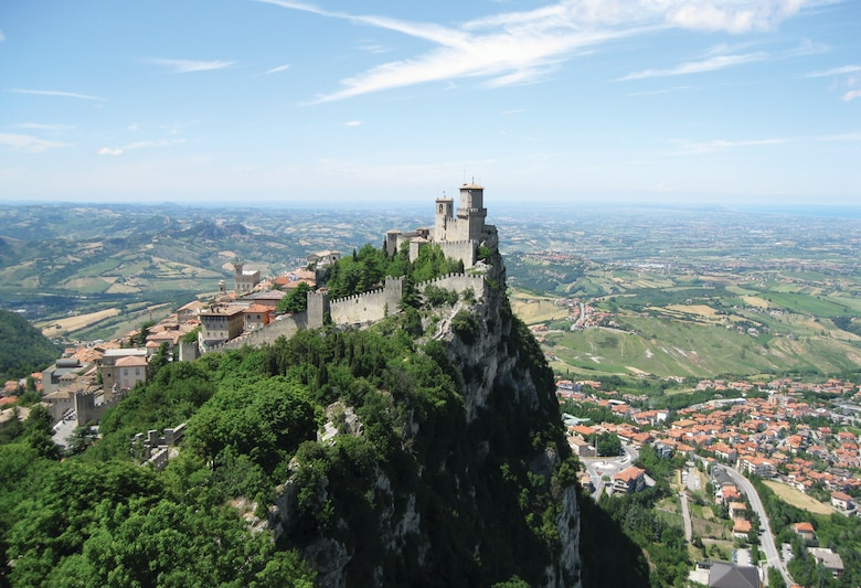 """The Guaita Fortress, built in the XI century, overlooks the Republic of San Marino. The fortress, otherwise known as the """"first tower"""" has been restored several times throughout its long history. The prominent landmark provides tourists a variety of great photo opportunities. (U.S. Air Force photo/2nd Lt. Brian Wagner)"""