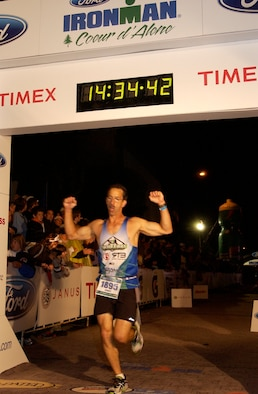 Finishing in a little over 14 hours, Colonel Thayer shaved an hour and 10 minutes off his previous race time. The Tinker colonel was one of more than 2,000 athletes participating in the annual event (Courtesy photo)