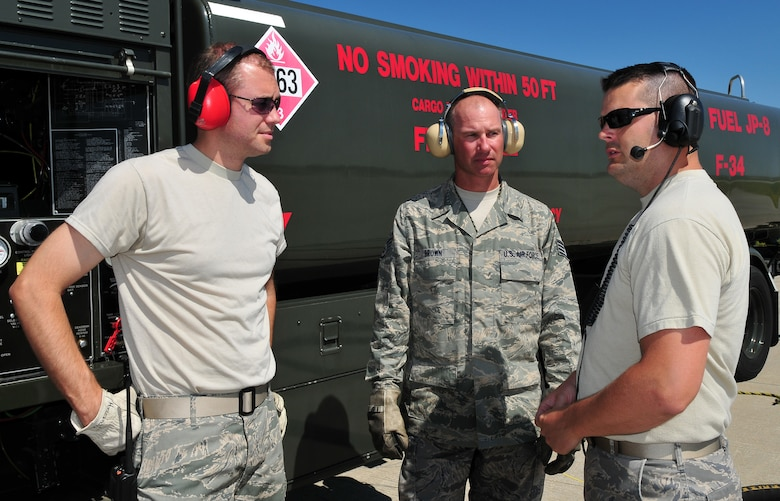 WI Air National Guard refueling specialists Staff Sgt. Shaun Herholz, left, and Staff Sgt. Patrick Brown, center, review hot pit refueling procedures with Aircraft Maintenance Craftsman Tech. Sgt. Ryan Brown at Dane County Regional Airport on July 7, 2009. Hot pit refueling operations provide rapid sortie generation by allowing 115th Fighter Wing F-16 aircraft to refuel and return to flight without shutting down their engines. (U.S. Air Force photo by Master Sgt. Paul Gorman