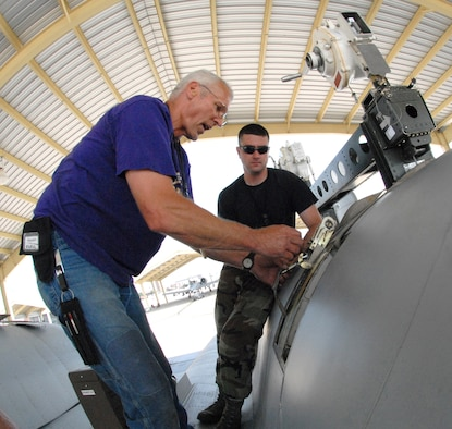 John Ezell, left, and Tech. Sgt. Aaron Berry install a safety strap prior to removing a TF-34-100A turbo-fan engine from an A-10 Thunderbolt II aircraft June 2, 2009, at Whiteman Air Force Base, Mo.  This particular engine, number 5036, set a longevity record for the 442nd Fighter Wing, after 10 years of being installed on the same aircraft, tail-number 605.  Mr. Ezell is the crew chief for A-10, number 605, and Sergeant Berry is also a crew chief in the 442nd Aircraft Maintenance Squadron.  The 442nd is an Air Force Reserve unit based at Whiteman.  (U.S. Air Force photo/Master Sgt. Bill Huntington)