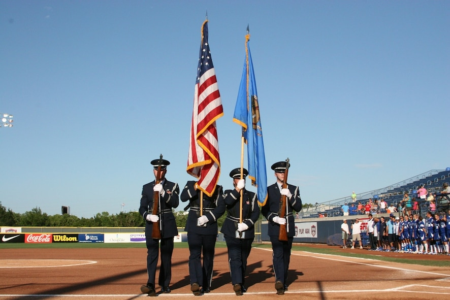 The Tinker Air Force Base Honor Guard performed during Military Appreciation Night at the World Cup of Softball July 17.