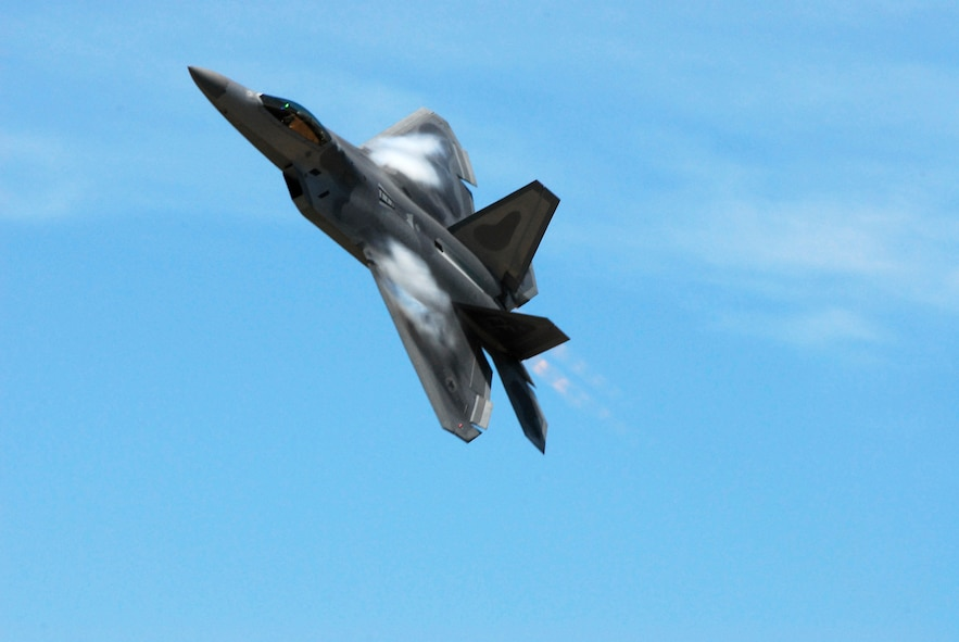 SIOUX FALLS, S.D. -- One of two F-22 Raptors from the United States Air Force F-22 Raptor demonstration team maneuvers for a smooth landing at Joe Foss Field here during their arrival July 23 in support of the Sioux Falls Airshow. (U.S. Air Force photo by Staff Sgt. Quinton Young)