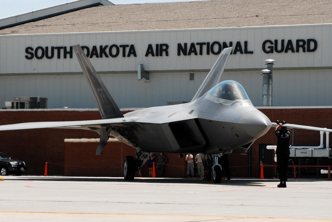 SIOUX FALLS, S.D. -- An F-22 with the Air Force demonstration team takes its place in the line-up at Joe Foss Field after arriving for the Sioux Falls Airshow July 23.  The Airshow was a two day event held at Joe Foss Field July 25-26. (U.S. Air Force photo by Staff Sgt. Quinton Young)