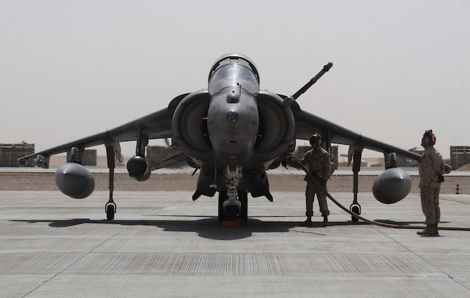 A Marine Attack Squadron 214 AV-8B Harrier receives fuel July 29, 2009, during a rapid refueling test at Camp Bastion in Afghanistan. The squadron also tested its rapid refueling abilities at a forward refuel point with Marine Wing Support Squadron 371 at Camp Bastion in the Helmand Province Aug. 24, 2009. Both squadrons are based in Yuma, Ariz.
