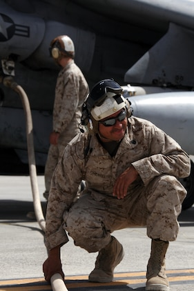 Gunnery Sgt. Jose Pimentel, Marine Attack Squadron 214 quality assurance chief straightens a fuel line leading to one of the unit's AV-8B Harriers July 29, 2009, at Camp Bastion, Afghanistan. The squadron also tested its rapid refueling abilities at a forward refuel point with Marine Wing Support Squadron 371 at Camp Bastion in the Helmand Province, Aug. 24, 2009. Both squadron's are based in Yuma, Ariz.
