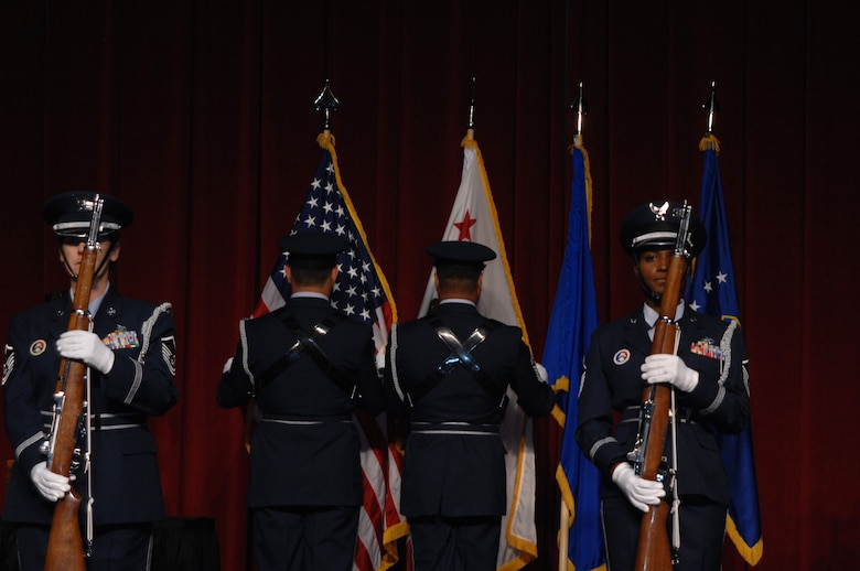 The Fourth Air Force Color Guard posts the Colors during the 11th Annual Raincross Trophy Dinner held July 23, 2009, at the Riverside Convention Center, Riverside, Calif.. The dinner is hosted by the Greater Riverside Chambers of Commerce Military Affairs Committee to honor and recognize the 11 wings and two groups in Fourth Air Force. (U.S. Air Force photo/Senior Master Sgt. Kim Allain)  (released)