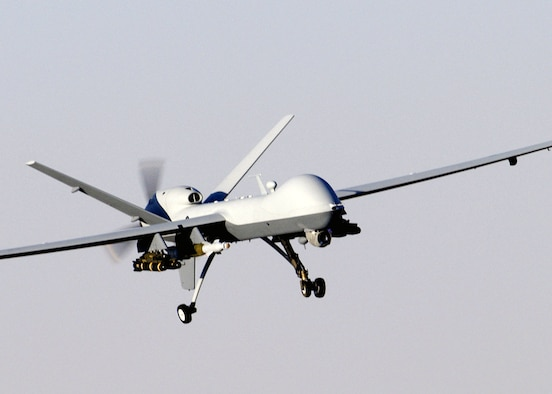 A MQ-9A Reaper unmanned aerial vehicle prepares to land after a mission in support of Operation Enduring Freedom in Afghanistan. The Reaper has the ability to carry both precision-guided bombs and air-to-ground missiles. (U.S. Air Force photo/Staff Sgt. Brian Ferguson)