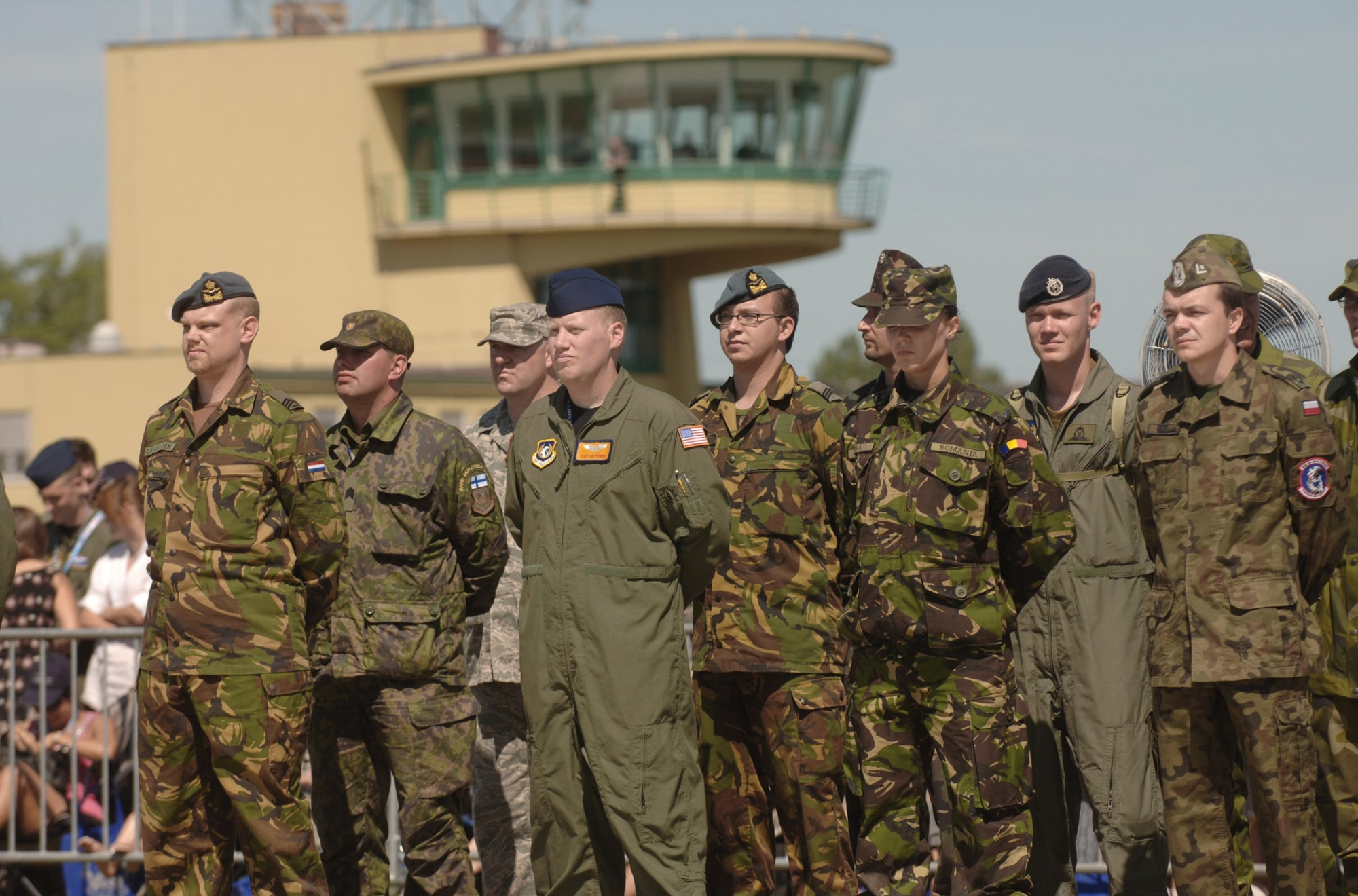 Airmen representing the 12 partnering nations take part in the activation ceremony of a first-of-its-kind multinational Heavy Airlift Wing at Papa Air Base, Hungary. The ceremony celebrated the efforts of the 12 nations who, during the last 10 months, stood up the organization that will provide strategic airlift worldwide for humanitarian, disaster relief, and peacekeeping missions in support of the European Union, United Nations and NATO. (U.S. Air Force photo/Master Sgt. Scott Wagers)