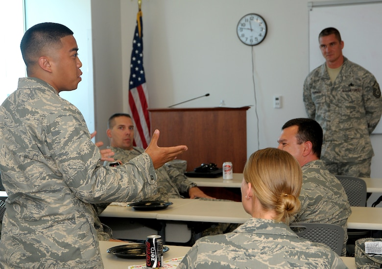 Enlisted and company grade officers gathered for a lunch and learn session, July 21. (Photo by Joe Juarez)