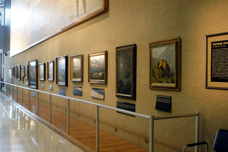 DAYTON, Ohio -- Paintings by Wilson Hurley on display in Kettering Hall at the National Museum of the U.S. Air Force. (U.S. Air Force)