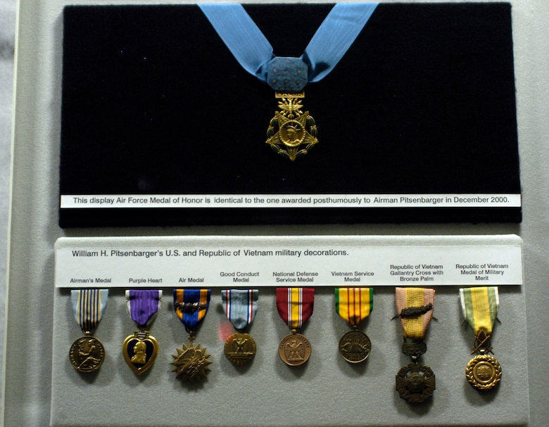 DAYTON, Ohio - Airmen 1st Class William H. Pitsenbarger's military decorations on display in the Southeast Asia War Gallery at the National Museum of the U.S. Air Force. (U.S. Air Force photo)