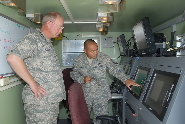 Master Sgt Bernard Castro explains a display on the latest piece of ground tracking equipment on the Saylor Creek Gunnery Range to Chief of the National Guard Bureau Gen Craig McKinley during a visit to Saylor Creek and Gowen Field in Boise, Idaho. Master Sgt Castro, a Ground Radar Craftsman is with the 266th Range Squadron, Idaho Air National Guard.