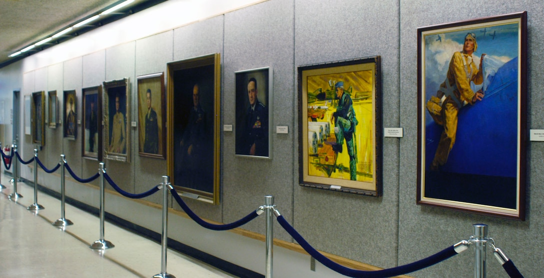 DAYTON, Ohio -- The art on display on the second floor of the National Museum of the U.S. Air Force depicts notable personnel from throughout Air Force history. (U.S. Air Force photo)