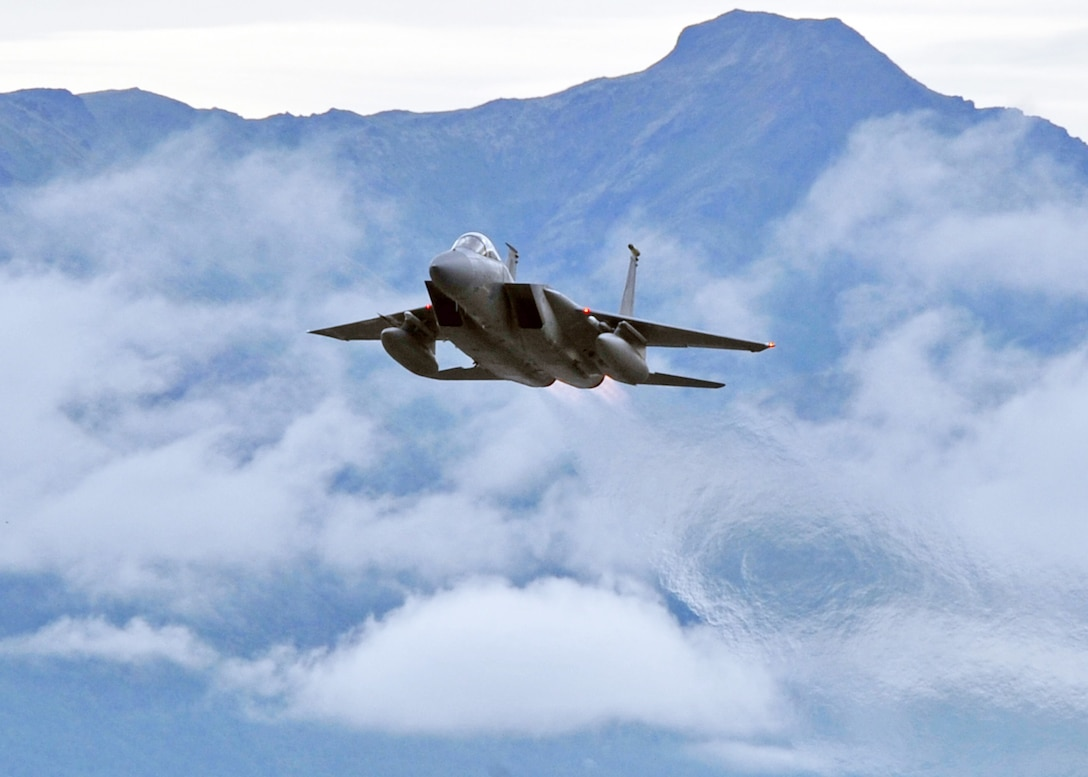 An F-15 Eagle takes off from Elmendorf Air Force Base, Alaska, July 28. The F-15 is assigned to the 19th Fighter Squadron. The unit is a part of the 3rd Wing at Elmendorf AFB and is one of three fighter squadrons there. (U.S. Air Force photo/Senior Airman Laura Turner)