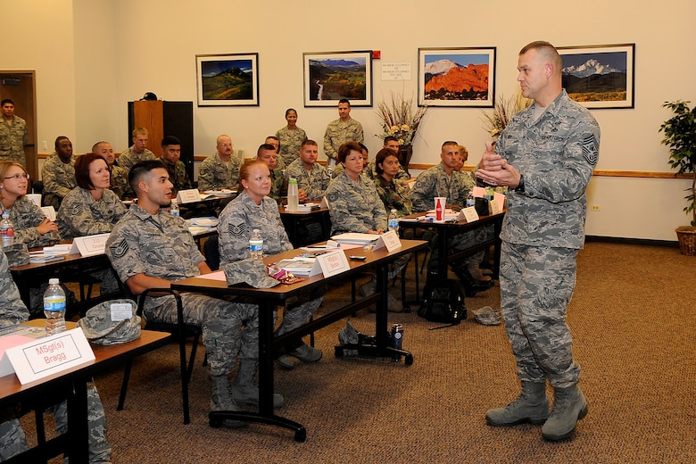 BUCKLEY AIR FORCE BASE, Colo. -- Chief Master Sgt. of the Air Force James Roy speaks to the Senior NCO Induction Course July 23 at the leadership development center.  Following his speech, Chief Roy answered questions from the class regarding the future of the enlisted force and the senior NCO corps.  (U.S. Air Force photo by Senior Airman Stephen Czyz)