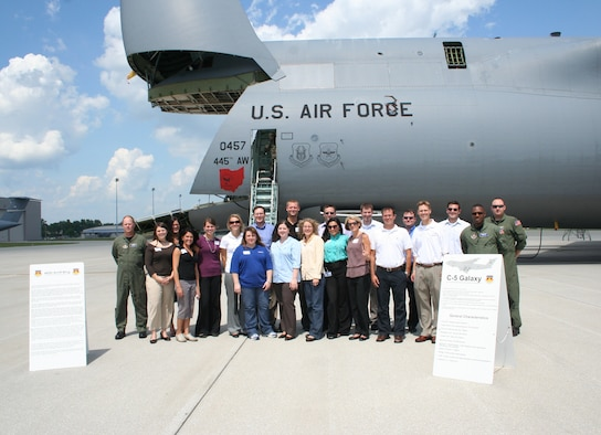 WRIGHT-PATTERSON AIR FORCE BASE, Ohio - Generation Dayton, a group of young professionals from the Dayton region, visited Wright-Patterson Air Force Base July 24 to tour the base and meet with the junior work force.  Part of their visit included a visit to the 445th Airlift Wing to tour a C-5 Galaxy aircraft.  (U. S. Air Force photo/Stacy Vaughn)