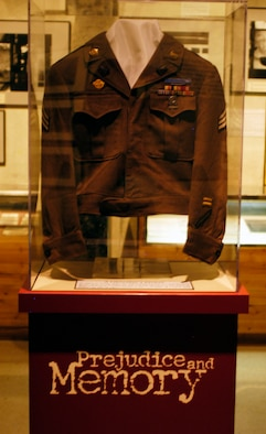 "DAYTON, Ohio -- Liberator's jacket in the ""Prejudice & Memory: A Holocaust Exhibit"" at the National Museum of the U.S. Air Force. (U.S. Air Force photo)"