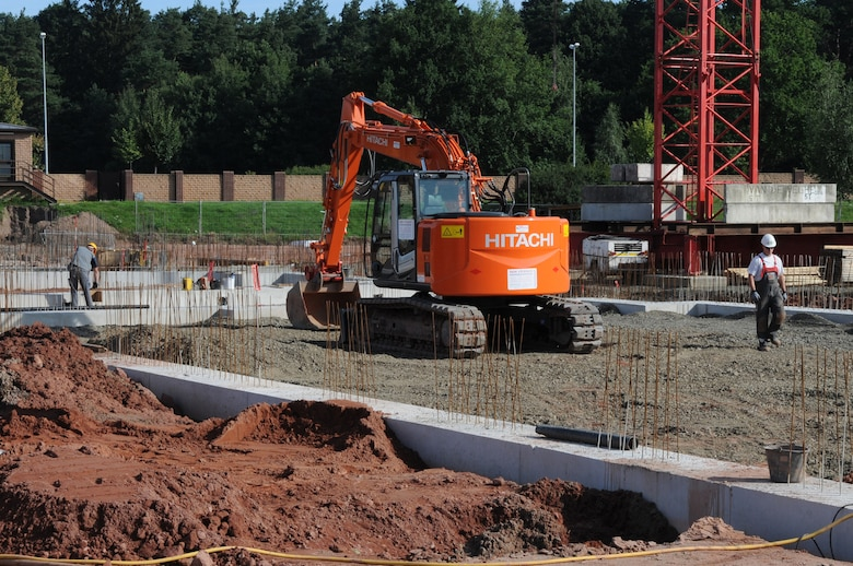Construction for the new Joint Mobility Processing Center is underway on Ramstein Air Base, Germany, July 29, 2009. The JMPC processes over 500 military members per month for deployments. (U.S. Air Force photo by Airman 1st Class Caleb Pierce)