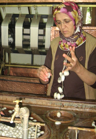 A Turkish employee at Uchisar Castle carpet and pottery workshop picks the silkworm eggs apart for the spinner machine to catch and twist. Hundreds of silk worm eggs are gently unwrapped by the machine to make large wheels of silk before the dye process for Turkish rugs.  (U.S. Air Force photo/Airman 1st Class Amber Ashcraft)