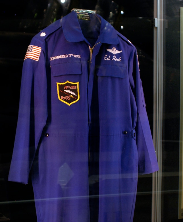 DAYTON, Ohio - Lt. Col. Edward Rock's party suit. Col. Rock was the commander of the 17th Wild Weasel Squadron from June 1972 to the end of the Southeast Asia War. This suit is on display in the First In, Last Out: Wild Weasels vs. SAMs exhibit in the Southeast Asia War Gallery at the National Museum of the U.S. Air Force. (U.S. Air Force photo)