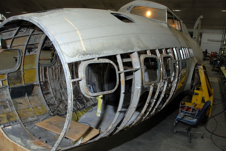 DAYTON, Ohio (6/2/2009) - B-17D The Swoose in the restoration hangar at the National Museum of the U.S. Air Force. (U.S. Air Force photo)