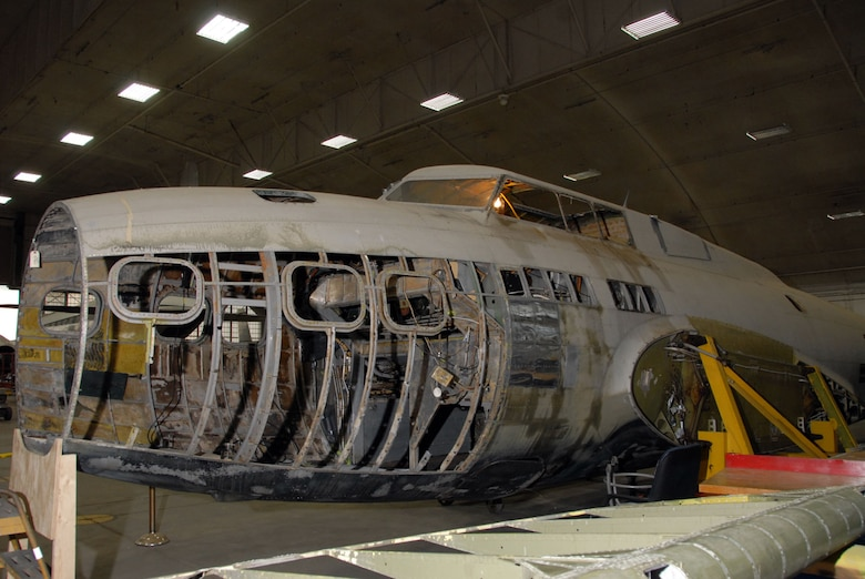 DAYTON, Ohio (6/2/2009) - The B-17D The Swoose in the restoration hangar at the National Museum of the U.S. Air Force. (U.S. Air Force photo)
