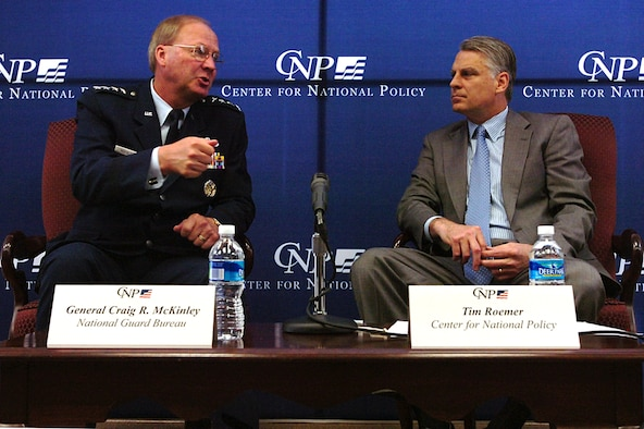 """Gen. Craig R. McKinley, chief of the National Guard Bureau, speaks June 1 with Tim Roemer (right) of the Center for National Policy, a """"nonpartisan, national security think tank"""" on issues including regional, national and homeland security, and the future of U.S. military forces."""
