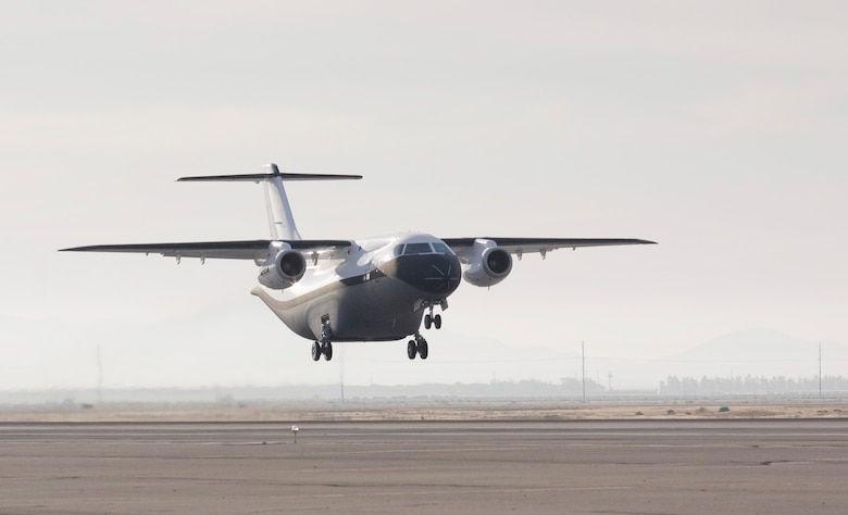 The Advanced Composite Cargo Aircraft made its first test flight June 2 from Air Force Plant 42 in Palmdale, Calif. The ACCA is proof of concept technology demonstrator for advanced composite manufacturing processes in a full-scale, certified aircraft. It was developed by Air Force Research Laboratory and Lockheed Martin officials. (Courtesy photo)