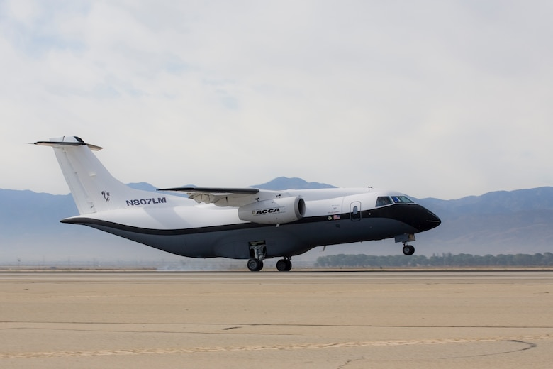 The Advanced Composite Cargo Aircraft made its first test flight June 2 from Air Force Plant 42 in Palmdale, Calif.  The ACCA is proof of concept technology demonstrator for advanced composite manufacturing processes in a full-scale, certified aircraft. It was developed by the Air Force Research Laboratory and Lockheed Martin.  (Lockheed Martin photo/Denny Lombard)