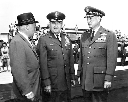 Gen. T.D. White (right) with his successor as Chief of Staff, Gen. Curtis LeMay, and Secretary of the Air Force Eugene M. Zuckert, at White's retirement ceremony. (U.S. Air Force photo)