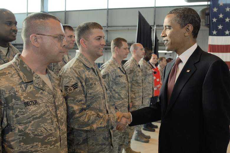President Barack Obama meets with Airmen June 5 during a stop Ramstein Air Base, Germany.  The president was en route to nearby Landstuhl Regional Medical Center, Germany, to visit wounded U.S. servicemembers being treated there. (U.S. Air Force photo/Senior Airmen Kenny Holston)