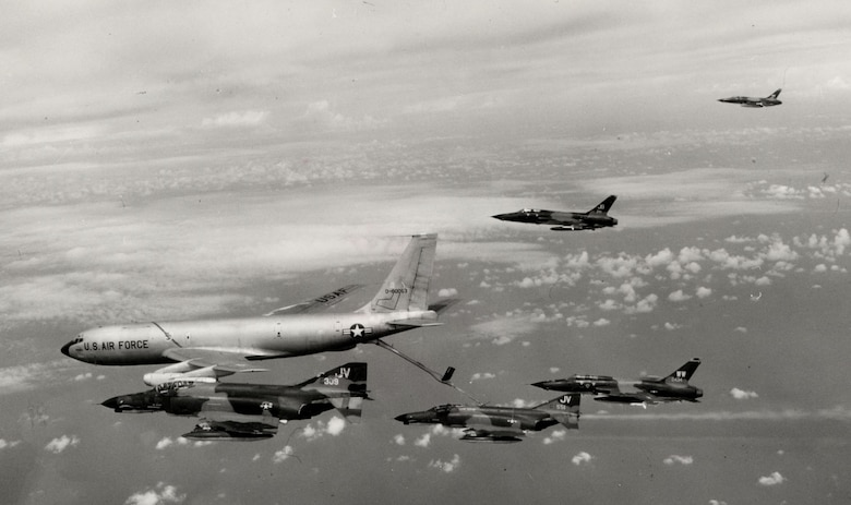 Hunter killer group of F-105G Wild Weasels and F-4Es take fuel on the way to North Vietnam for a LINEBACKER strike in the summer of 1972. (U.S. Air Force photo)