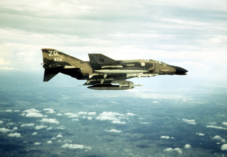 F-4C Wild Weasel flying over North Vietnam, December 1972. Unlike the F-105G, the F-4C Wild Weasel could not carry Standard missiles.   (U.S. Air Force photo)
