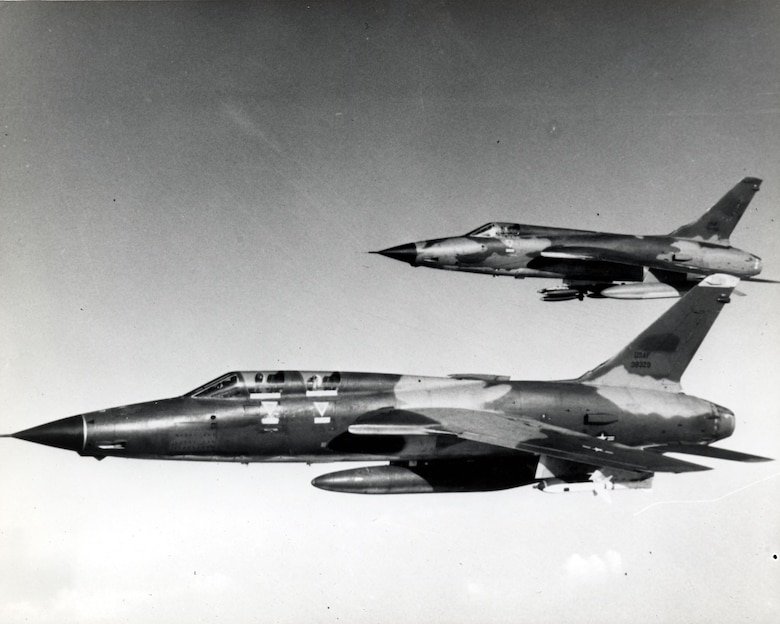 "The elements of a ""hunter-killer"" team: F-105F Wild Weasel with Shrikes and F-105D with bombs. (U.S. Air Force photo)"