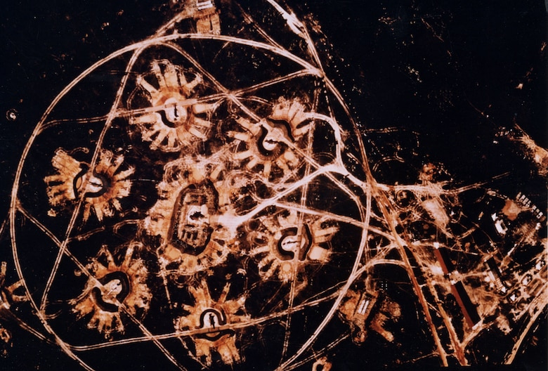 Distinctive star-shaped layout is evident in this SA-2 site in Cuba in November 1962.  After the first Wild Weasel successes, the North Vietnamese began laying out the sites irregularly to make them harder to spot. (U.S. Air Force photo)