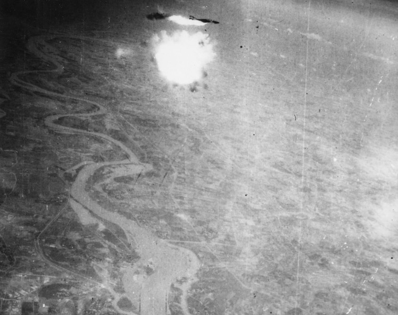 Series of a USAF RF-4C reconnaissance aircraft being shot down by an SA-2 on Aug. 12, 1967 near Hanoi, North Vietnam. Capts. Edwin Atterberry and Thomas Parrott were captured after ejecting. Atterberry died in the hands of the North Vietnamese after an escape attempt and Parrott was released at the end of the war.(U.S. Air Force photo)