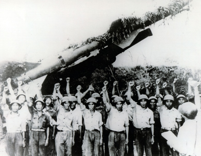 North Vietnamese SAM crew in front of SA-2 launcher. (U.S. Air Force photo)