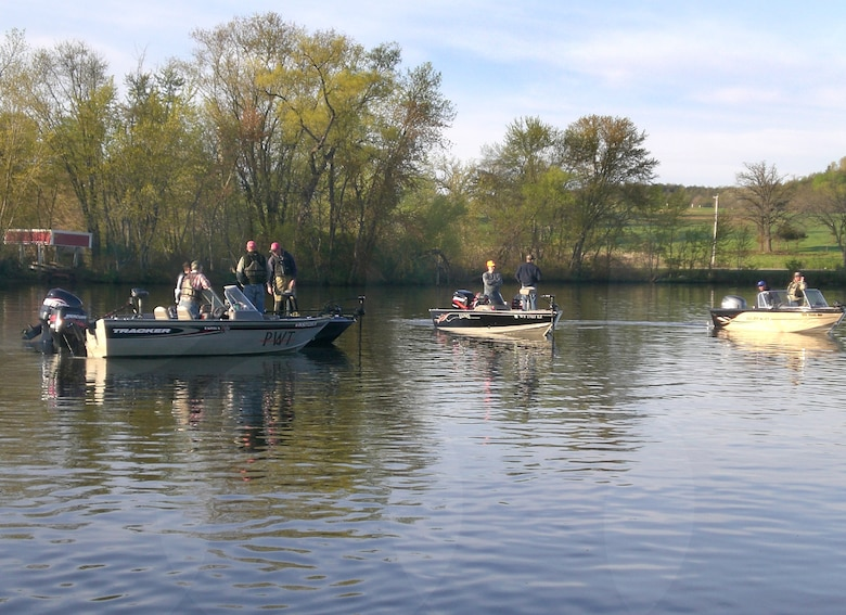 Members from the 115th FIghter Wing fish on Lake Wisconsin May 8 as part of the 3rd Annual 115th FW Fishing Tournament. Ten two-person teams competed in the competition. (Photo by Master Sgt. Dan Richardson)