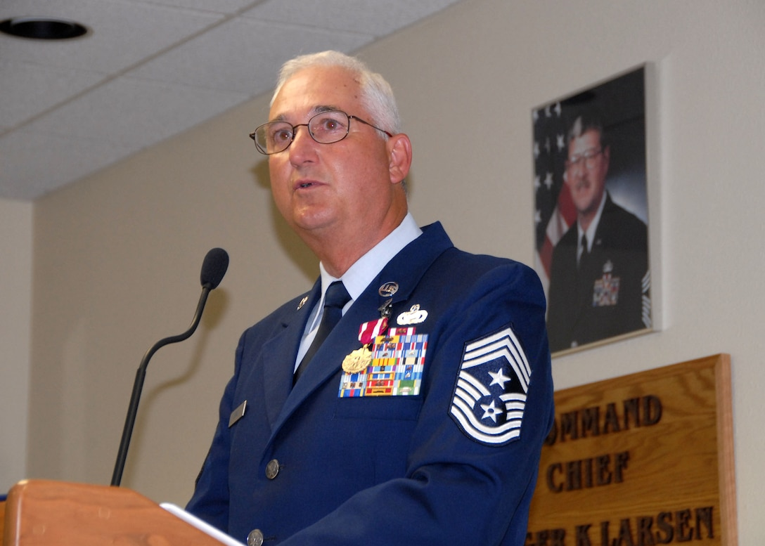 Command Chief Master Sgt. Larry Seibel speaks to the audience during his retirement celebration on June 7, 2009.  U.S. Air Force photo by Senior Master Sgt. Eric Peterson.