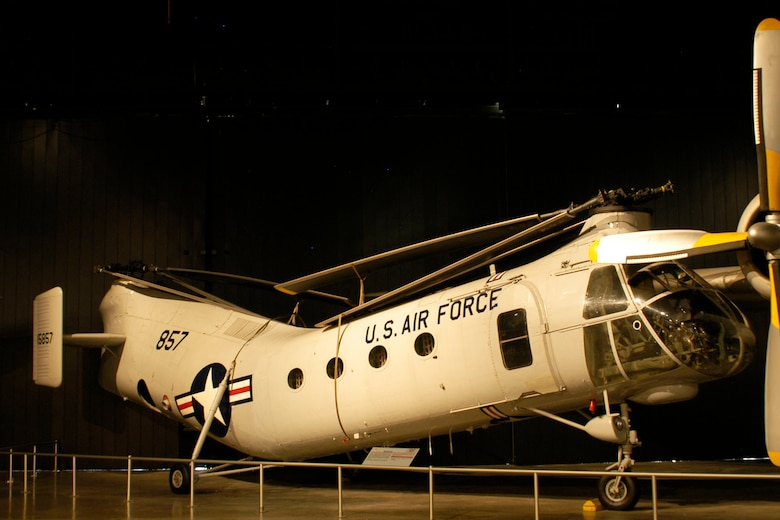DAYTON, Ohio -- Vertol CH-21B Workhorse in the Cold War Gallery at the National Museum of the United States Air Force. (U.S. Air Force photo)