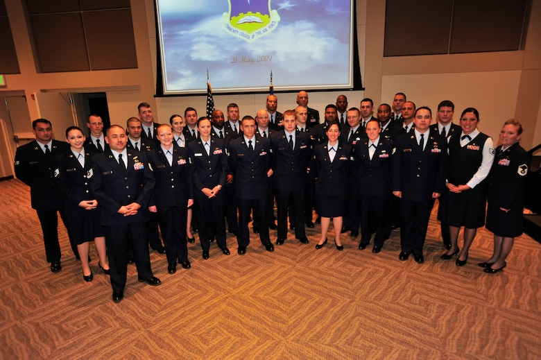 BUCKLEY AIR FORCE BASE, Colo. -- Airmen from across Team Buckley graduated from The Community College of the Air Force, May 21, in a ceremony at the Leadership Development Center here. (U.S. Air Force photo by Senior Airman Alex Gochnour)