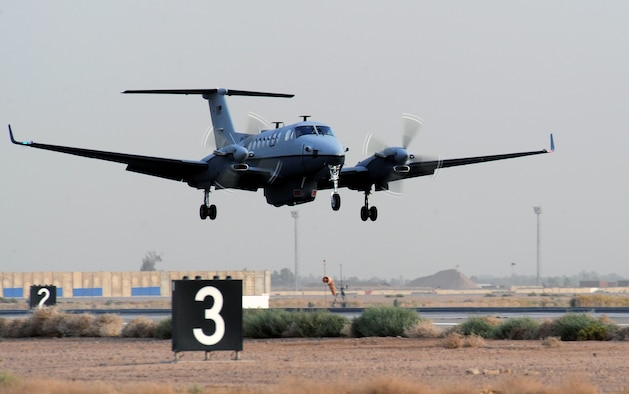 The first MC-12 aircraft in-theater lands after its first combat sortie at approximately 6:20 p.m. local time June 10 at Joint Base Balad, Iraq. The Air Force's newest intelligence, surveillance and reconnaissance platform, the MC-12 is a medium-altitude manned special-mission turbo prop aircraft that supports coalition and joint ground forces. (U.S. Air Force photo/Senior Airman Tiffany Trojca)