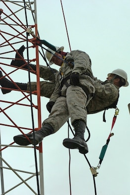 Tech. Sgt. James Lee Norton and Tech. Sgt. Jesus Romeo of the 364th Training Squadron, Sheppard Air Force Base, Texas, practice saving a fellow Airman from a tower in preparation for instructing the Advanced Tower Rescue Course at the Lightning Force Academy at Fort Indiantown Gap, Pa.