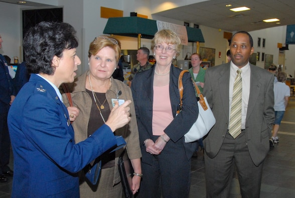 "In a ""partnering"" event, the 42nd Medical Group hosted executives from Montgomery hospitals Friday. Shown from left are 42nd MDG commander Col. Diana Atwell; Vicky Jones, vice president of operations at Jackson Hospital; Lynne Parker, CEO and administrator at Baptist Medical Center South; and Jeffery Hicks, vice president of Ancillary Services. (U.S. Air Force photo/Jamie Pitcher)"