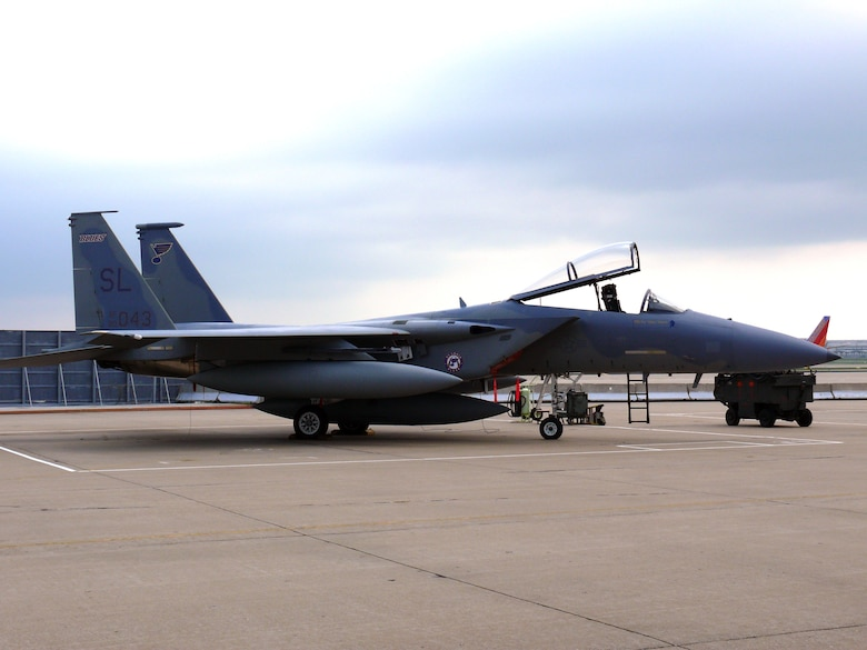 F-15 C aircraft prior to departure to it's new duty location at Hickam AFB, HI during the end of era ceremony at the 131st Fighter Wing June 13, 2009. (Photo By John Quin)