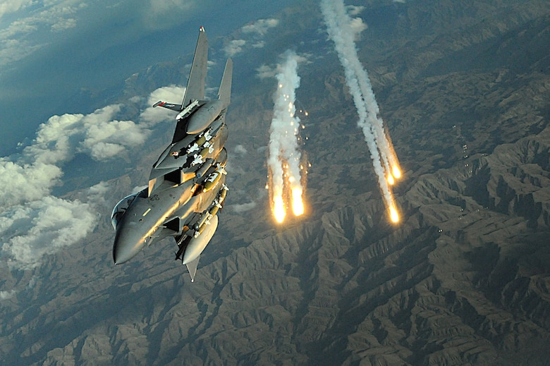 An F-15E Strike Eagle from Bagram Air Base deploys flares over Afghanistan Nov. 12, 2008. The F-15E's primary role in Afghanistan is providing close-air support for ground troops. (U.S. Air Force photo/Staff Sgt. Aaron Allmon)