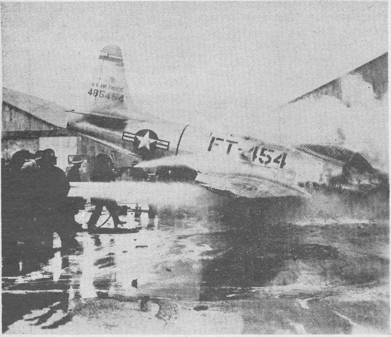 A mid-air collision over the skies of Misawa Air Base June 13, 1949, killed two pilots and destroyed at least eleven F-80s and four F-51s and damaged countless others.